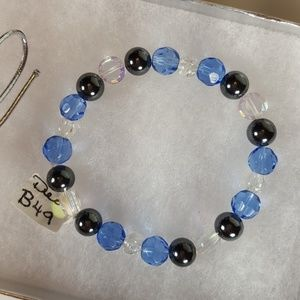 B49 Sparkling Blue Glass Bead Bracelet